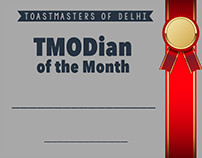 Certificate Design for awards in Toastmasters Of Delhi