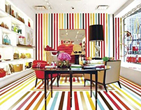 KATE SPADE;  WALL-TO-FLOOR STRIPES; STORE REDESIGN