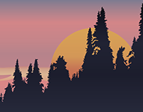 Fir Trees with different gradient backgrounds