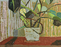 ,,Philodendron on the red table''