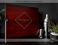 Personalized Martini Set in Rosewood Finish Box