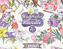 Big bundle with Watercolor flowers PNG