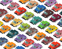 Isometric Flat 3d Vehicles