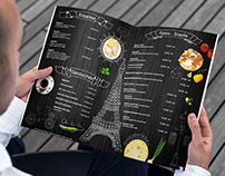 Menu for French restaurant with Paris symbols!