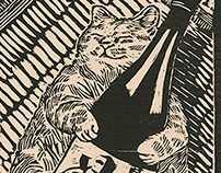 Woodcut Drunk Cat