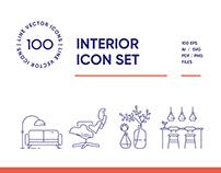 Interior Design Line Icon Set