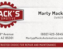 Mack's Automotive | Business Card Design