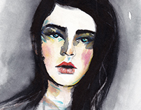 Watercolor and Ink Portrait