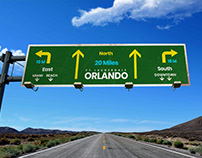 Free Highway Wayfinding Signage Board Mockup PSD