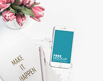 Free mockup: White iPhone and Pink Tulips