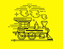 Vector Illustrations: A Train and Carts