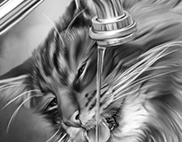 Cat Drink Digital Art by Wayne Flint