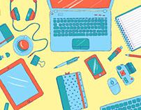 Illustrated Desk Scene