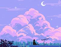 Cat on the Rooftop / Pixel Art