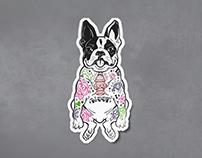Tattooed Frenchie illustration