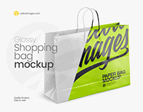 Glossy Shopping Bag Mockup - Halfside View