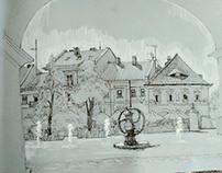 fontanny na placu w Kielcach