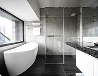 Bathroom Renovation | Black, White & Grey 景觀奢華浴室