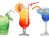 3 watercolor cocktails