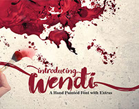 Wendi hand typeface with extras
