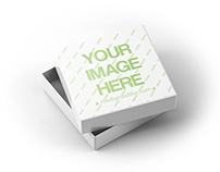 Square Box with Lid Open Mockup Template