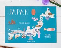 Japan illustrated map for Tropico Polar