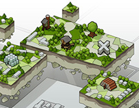 Camou Green Park | isometric illustration