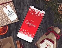 Mobile game design. Christmas tree. Mobile UI