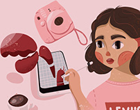 Hand drawn cute portraits and speed paint in procreate