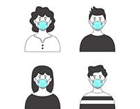 Hand drawn people wearing medical mask