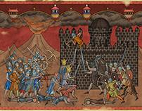 Isildur and Elendil fighting Sauron.