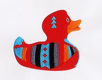COLORFUL ARTISTIC DUCK EMBROIDERY DESIGN