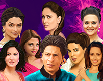 Digital Painting Bollywood Stars Collections