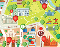 Illustrated map of Vilnius old town