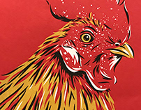 Screen Printed Rooster Illustration