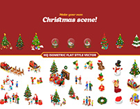 Christmas New Year Flat Isometric Scenes templates