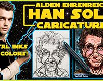 Alden Ehrenreich Han Solo Caricature Speed Drawing!