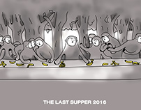 NEW YEAR CARD the last supper 2016 monkey year