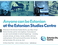 Estonian Studies Centre ad for the Alliance Francaise