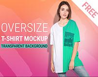 Woman oversize T-shirt mockup with transparent bg