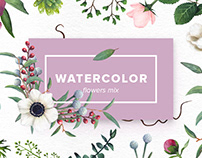 Watercolor Flowers Mix