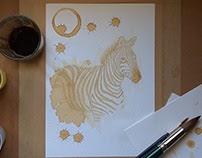 Zebra painted using coffee