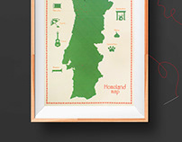 Homeland map poster // stitching on paper