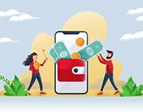 Wallet illustration for Banking App