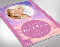 Pink Cloud Funeral Program Publisher Template