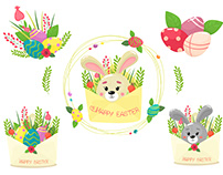 Easter set with bright isolates