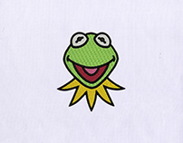 KERMIT FACE MACHINE EMBROIDERY DESIGN