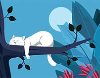 Sleepy Cat on a Tree - Creative Illustration