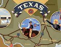 Texas illustrated map {Lonely planet mag}