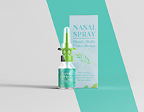 Nasal Spray Plastic Bottle With Box Mockup